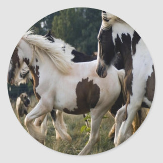 HORSES BLACK AND WHITE 1 PNG ROUND STICKER