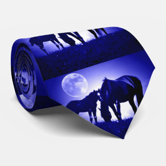 Horses Blue Night Fullmoon Tie