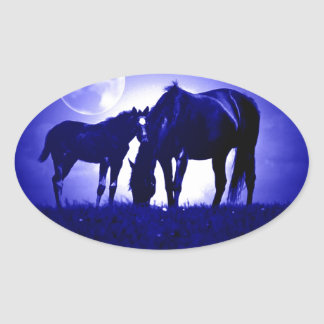 Horses & Blue Night Oval Sticker