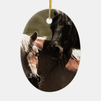 Horses Ceramic Oval Decoration