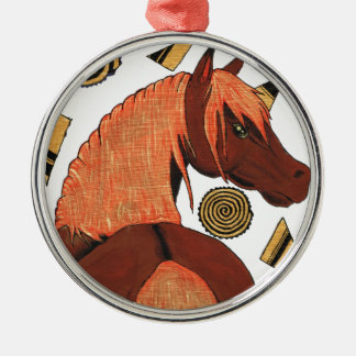 Horses: Chestnut in the sunset, swirling shapes Christmas Ornament