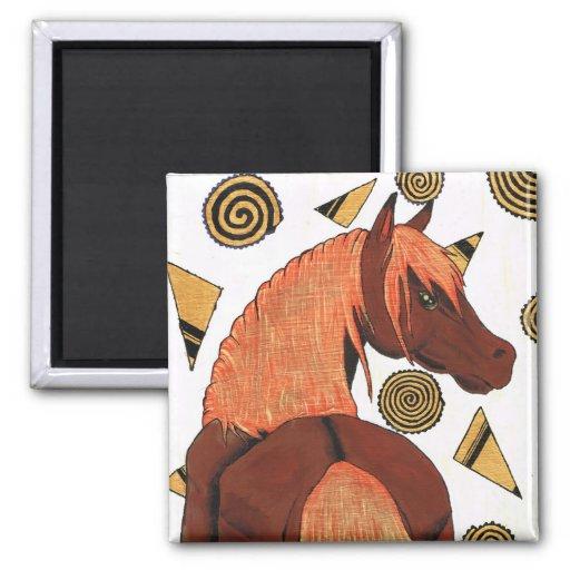 Horses: Chestnut in the sunset, swirling shapes Magnet
