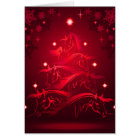 Horses Christmas Tree in Holiday Red Card