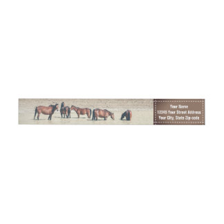 Horses Country Western Style Custom Return Address Wrap Around Label