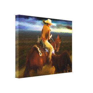 Horses - Cows - Head em off Stretched Canvas Print