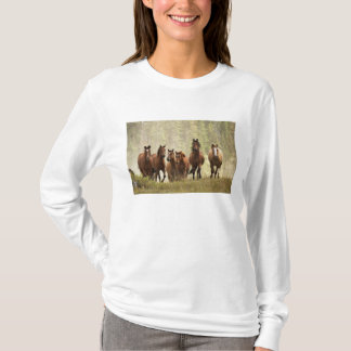 Horses cresting small hill during roundup, 2 T-Shirt