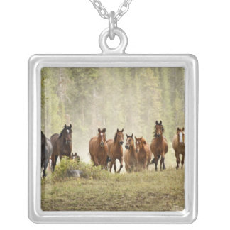Horses cresting small hill during roundup, silver plated necklace