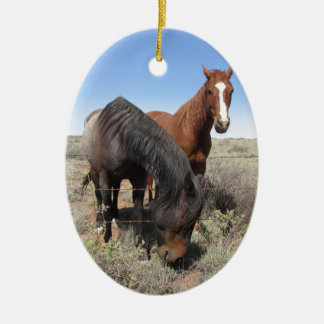 Horses Double-Sided Oval Ceramic Christmas Ornament