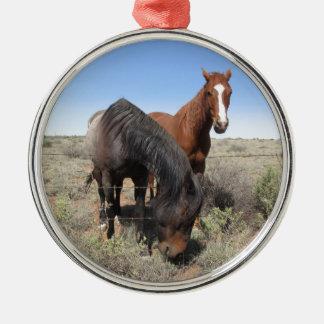 Horses Round Metal Christmas Ornament