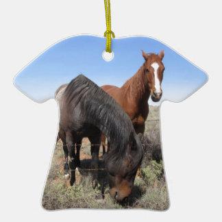 Horses Double-Sided T-Shirt Ceramic Christmas Ornament
