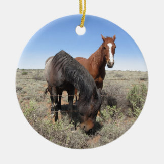 Horses Double-Sided Ceramic Round Christmas Ornament