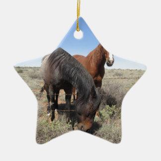 Horses Double-Sided Star Ceramic Christmas Ornament