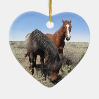 Horses Double-Sided Heart Ceramic Christmas Ornament