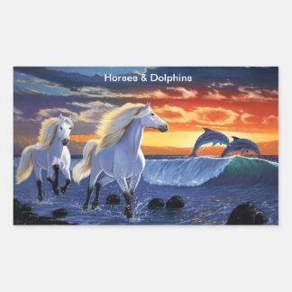 Horses & Dolphins Rectangular Sticker