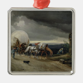 Horses Drawing Carts up a Hill, 1856 Silver-Colored Square Decoration