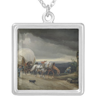 Horses Drawing Carts up a Hill, 1856 Silver Plated Necklace