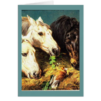 Horses eating hay card