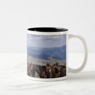 Horses (Equus ferus caballus) at scenic overview Two-Tone Coffee Mug