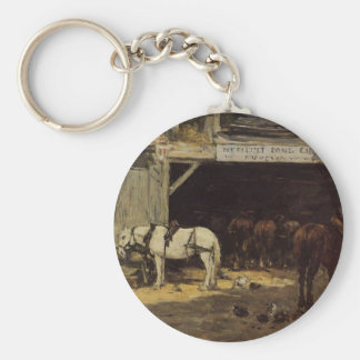 Horses for Hire in a Yard by Eugene Boudin Basic Round Button Key Ring