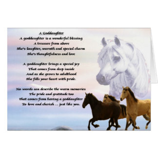 Horses goddaughter poem card