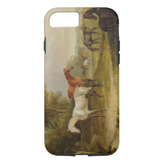 Horses Grazing: A Grey Stallion grazing with Mares iPhone 8/7 Case