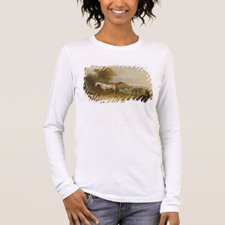 Horses Grazing: A Grey Stallion grazing with Mares Long Sleeve T-Shirt