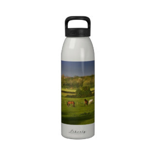 Horses grazing at Bower Hinton, Somerset Reusable Water Bottle