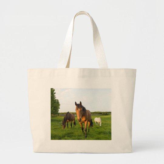Horses Grazing Large Tote Bag