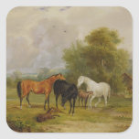 Horses Grazing: Mares and Foals in a Field (oil on