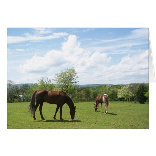 Horses Grazing on Fields Greeting Card