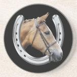 Horse's head in a horseshoe coaster