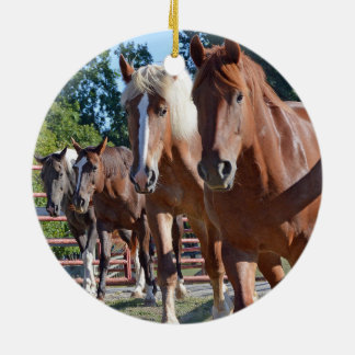 Horses Headed Back To The Barn Christmas Ornament