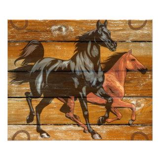 Horses Horseshoes Barn Wood Cowboy Photo Print