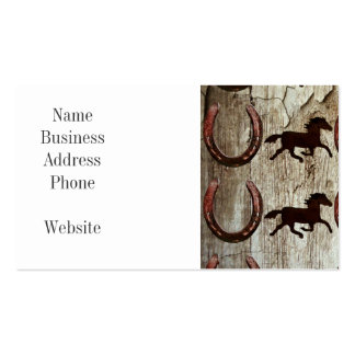 Horses Horseshoes on Barn Wood Cowboy Gifts Business Card Template
