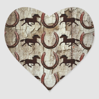 Horses Horseshoes on Barn Wood Cowboy Gifts Heart Sticker