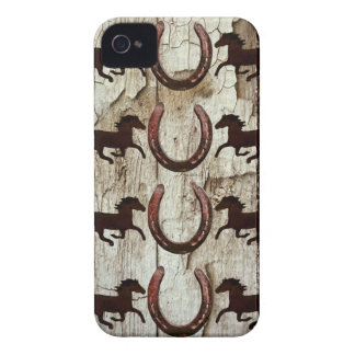 Horses Horseshoes on Barn Wood Cowboy Gifts iPhone 4 Covers