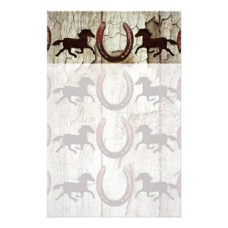 Horses Horseshoes on Barn Wood Cowboy Gifts Stationery