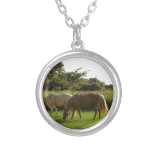 Horses in a field silver plated necklace