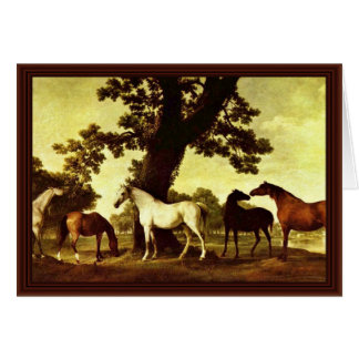 Horses In A Landscape By Stubbs George Greeting Card