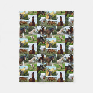 Horses In A Photo Collage, Fleece Blanket