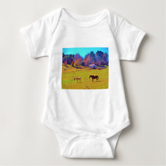 Horses in a Rainbow Colored Field T Shirts