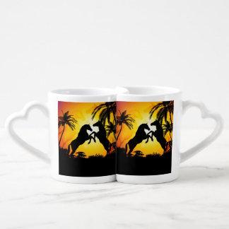 Horses in black lovers mug