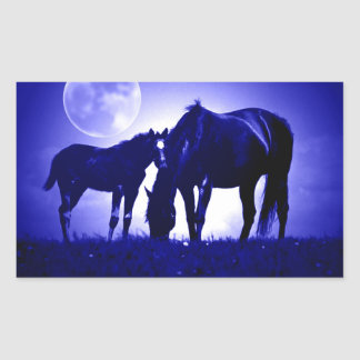 Horses in Blue Night Rectangle Sticker