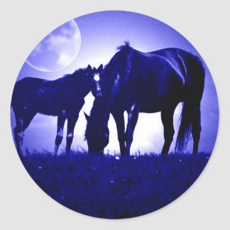 Horses in Blue Night Round Stickers