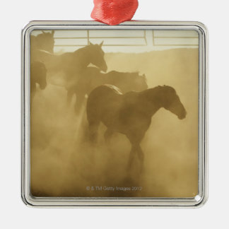 Horses in corral christmas ornament