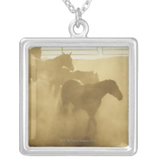 Horses in corral silver plated necklace