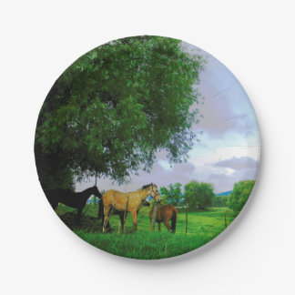 Horses in country 7 inch paper plate