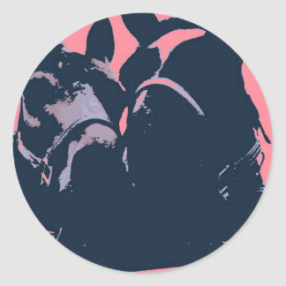 Horses in Love Pop Art Round Sticker