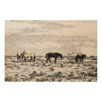 Horses in Monument Valley by Guido Prussia Wood Print