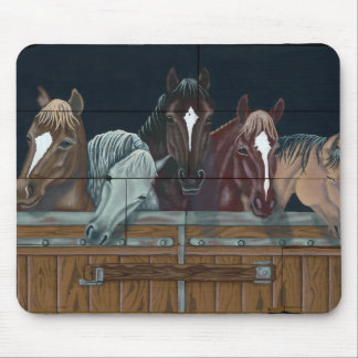 Horses in stable mouse pad